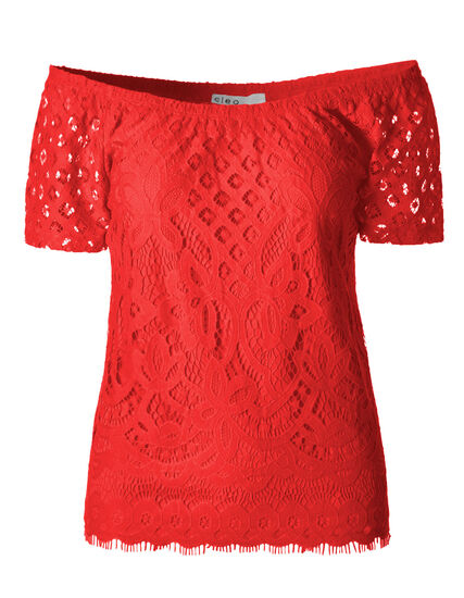 Coral Lace Overlay Top, Coral, hi-res
