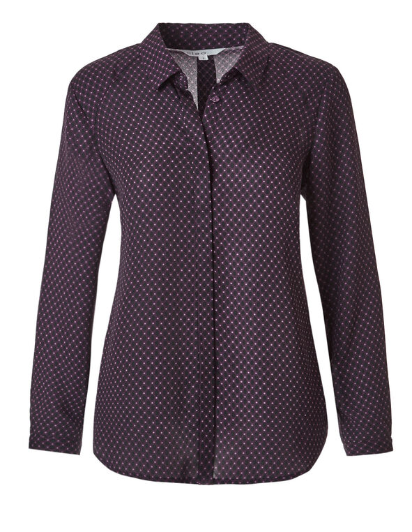 Dotted Soft Button Front Blouse, Dot Print, hi-res