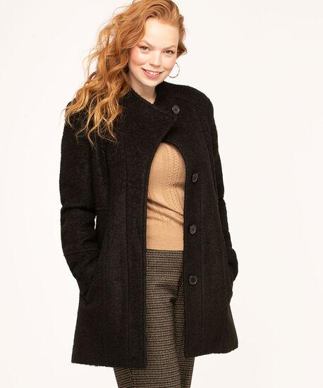 Bouclé Standing Collar Coat, Black, hi-res