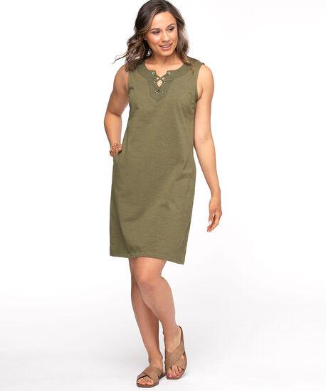 Cotton Tie Neck Slub Dress, Leaf, hi-res