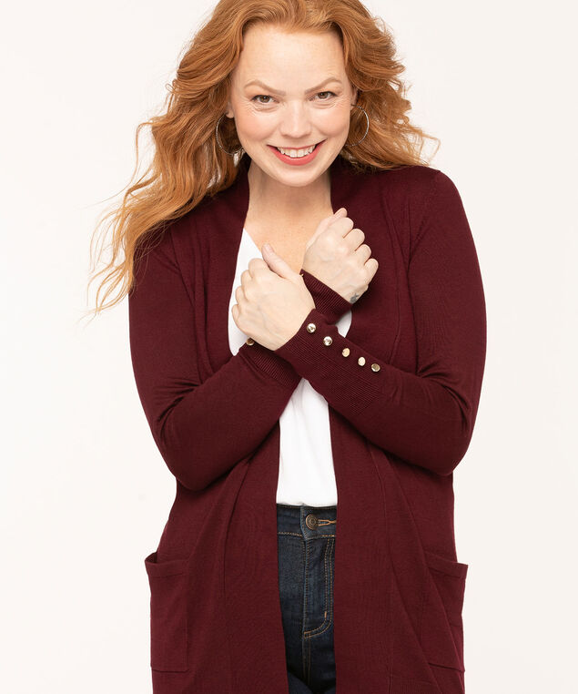 Long Sleeve Cardigan, Wine