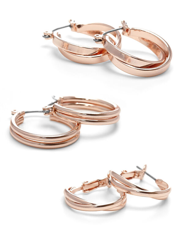 Rose Gold Hoop Earring Trio, Rose, hi-res