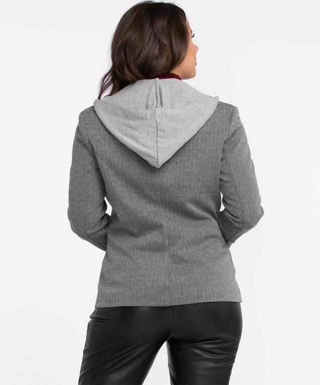 Jacquard Knit Hooded Blazer, Grey/Black
