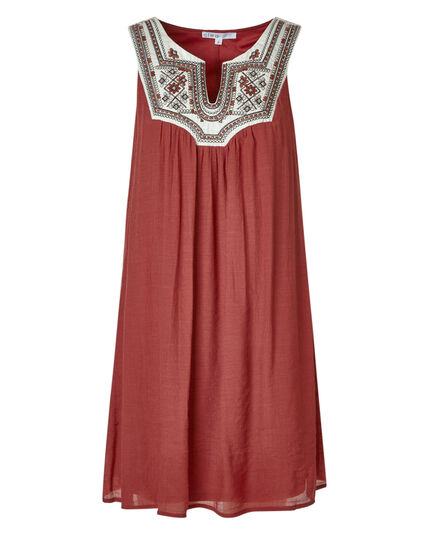 Rust Embroidered Gauze Dress, Rust, hi-res