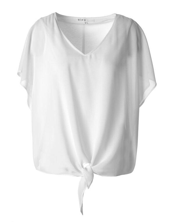 White Tie Front Chiffon Blouse, White, hi-res