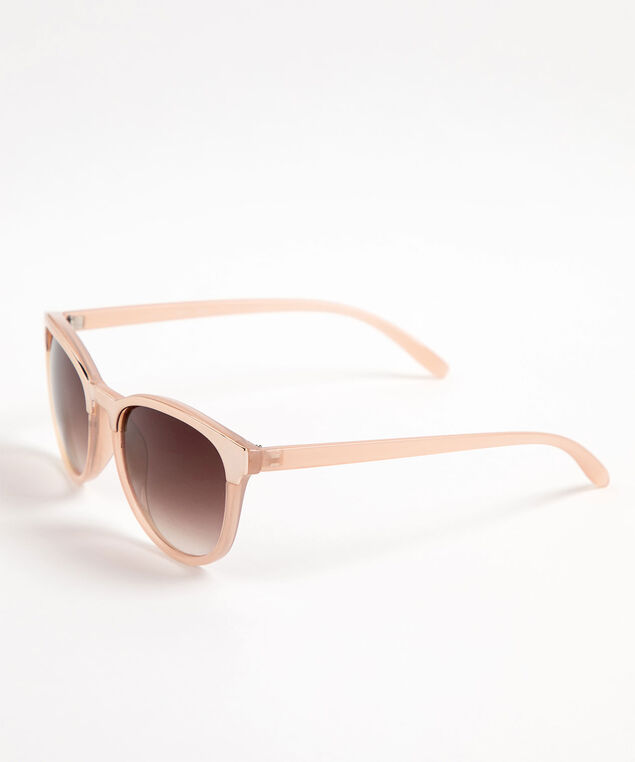 Rose Gold Trim Wayfarer Sunglasses, Blush Pink/Rose Gold