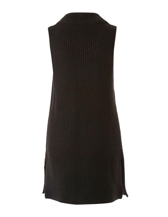 Black Rib Knit Vest, Black, hi-res