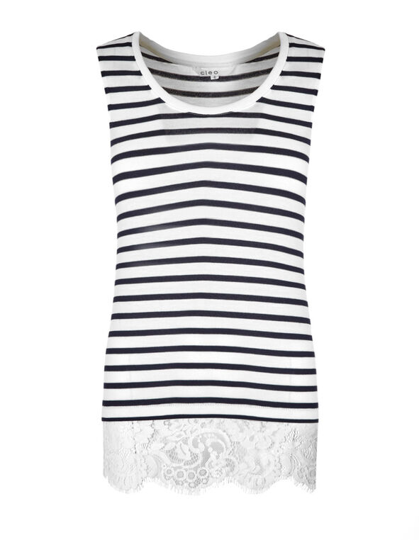 White & Navy Striped Top, White/Navy, hi-res