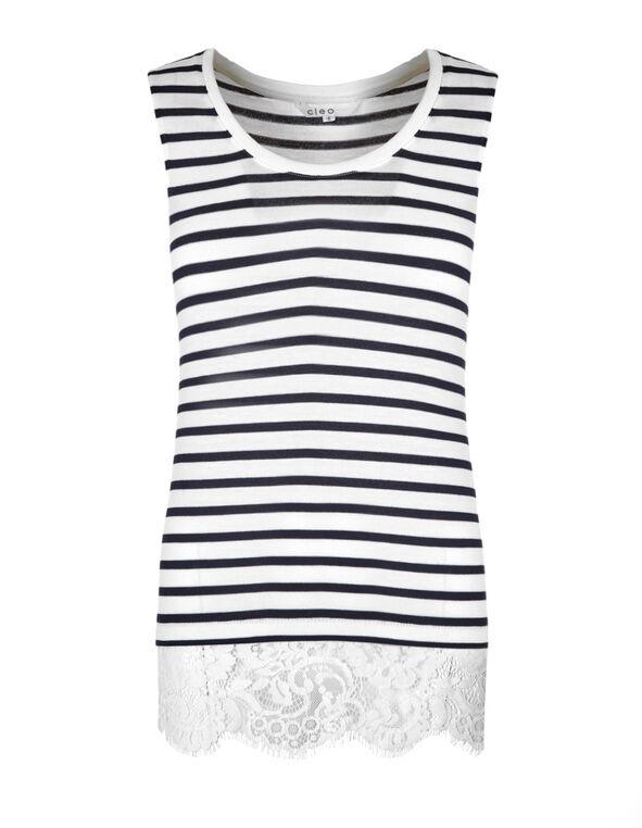White & Navy Striped Top, White/Navy, hi-res