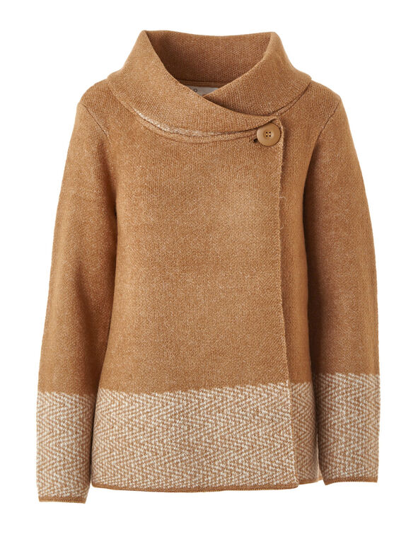 Camel Roll Neck Sweater Coat, Camel, hi-res