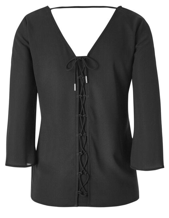 Black Pattern Back Tie Blouse, Black, hi-res