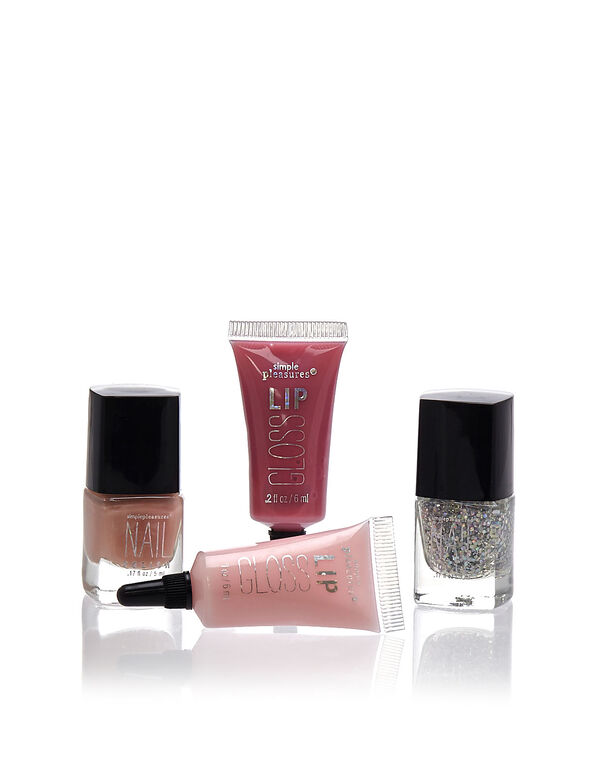 4 Piece Pink Nail & Lip Kit, Pink, hi-res