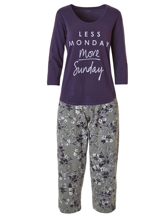 Purple Floral Print Cotton Pyjama Set, Purple, hi-res