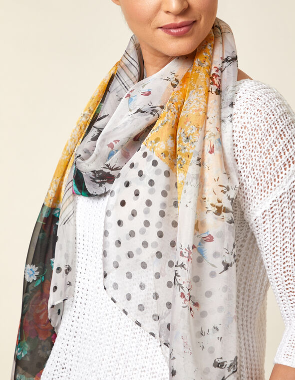 Chiffon Patchwork Print Scarf, Neutral/Yellow, hi-res