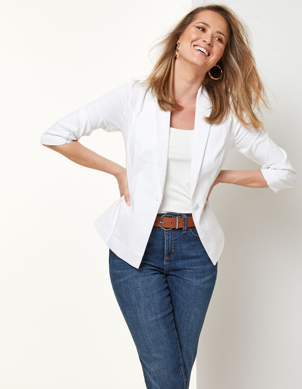 White Ruched Blazer, White, hi-res