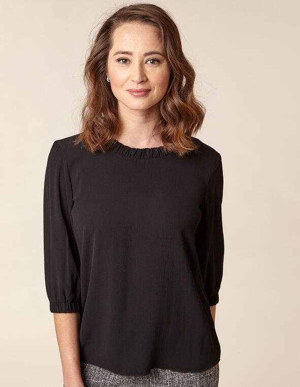 Black Gathered Blouse, Black, hi-res