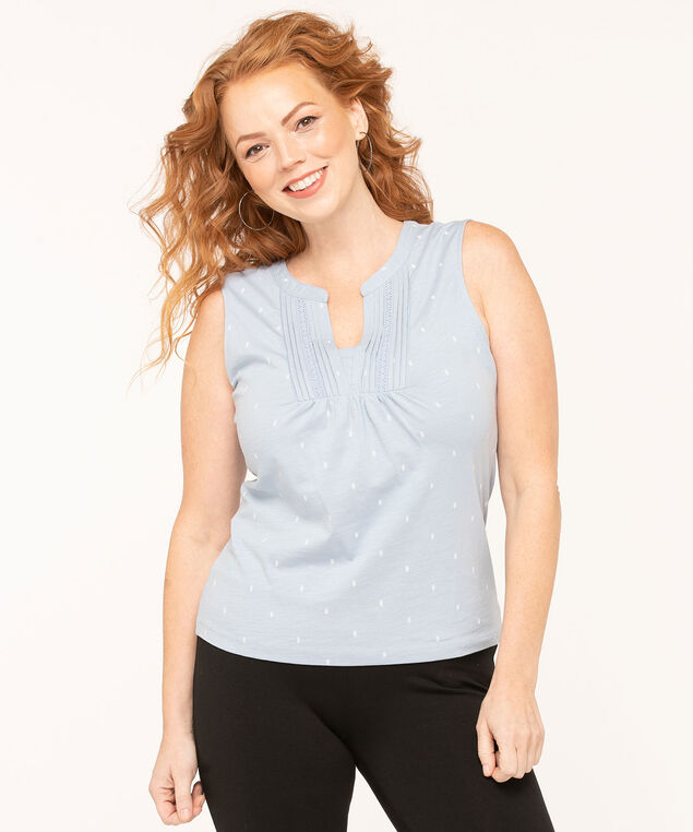 Sleeveless Peasant Style Knit Tee, Blue/White, hi-res