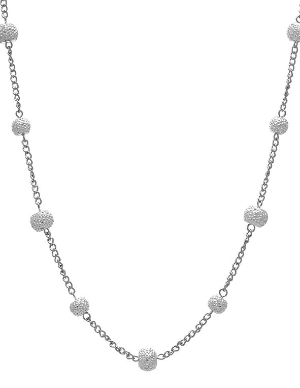 Long Silver Glitter Chain Necklace, Silver, hi-res