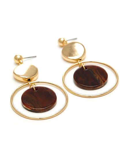Tortoise Circle Drop Earring, Brown/Gold, hi-res