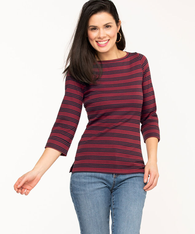 Striped 3/4 Sleeve Boat Neck Tee, Wine/Navy