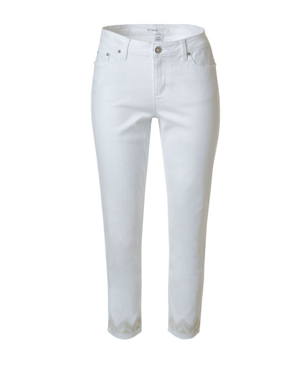 White Embroidered Crop Jean, White, hi-res