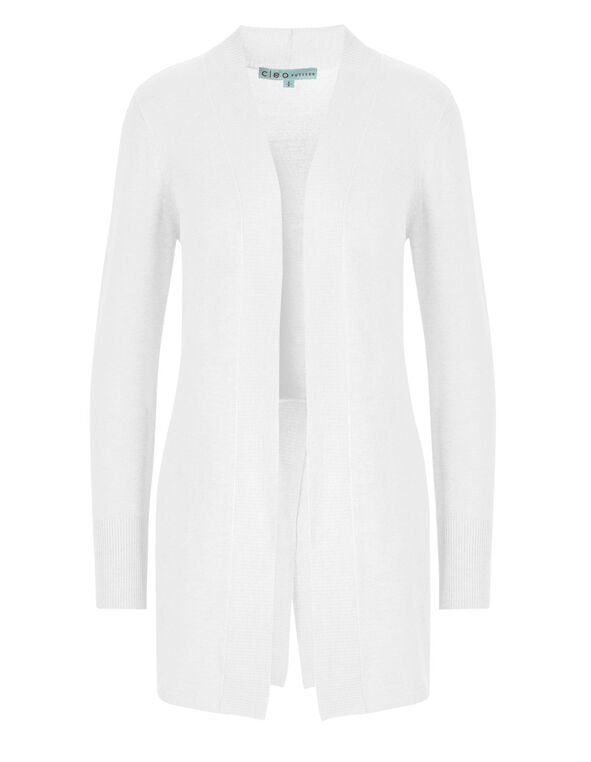 White Split Back Cardigan, White, hi-res