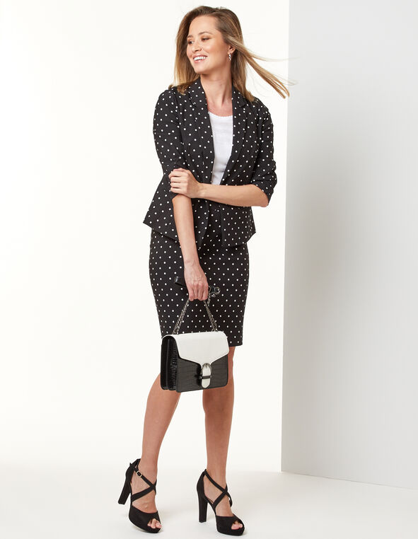 Polka Dot Ruched Blazer, Black/White, hi-res