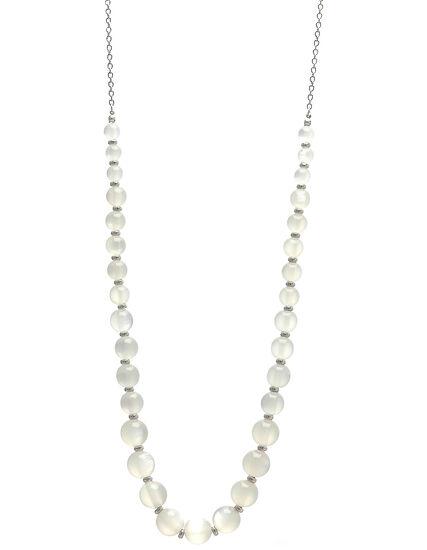 Milky White Beaded Short Necklace, White, hi-res