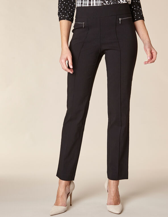 Black Zip Pull On Slim Pant, Black, hi-res