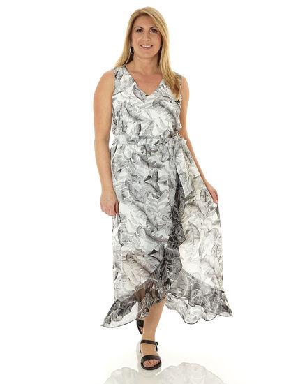 Black Tropical Printed Maxi Dress, Black/White, hi-res