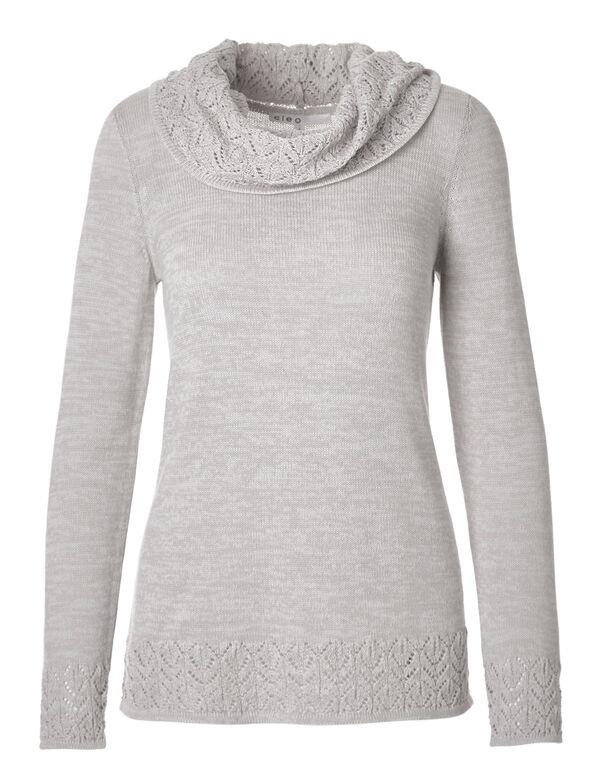 Light Grey Crochet Hem Sweater, Light Grey, hi-res