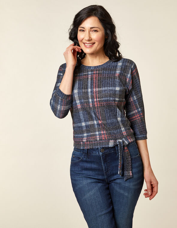 Navy Plaid Hacchi Top, Navy, hi-res