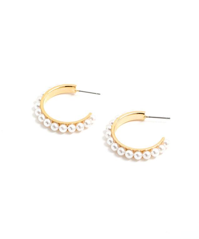 Pearl Hoop Earring, Gold