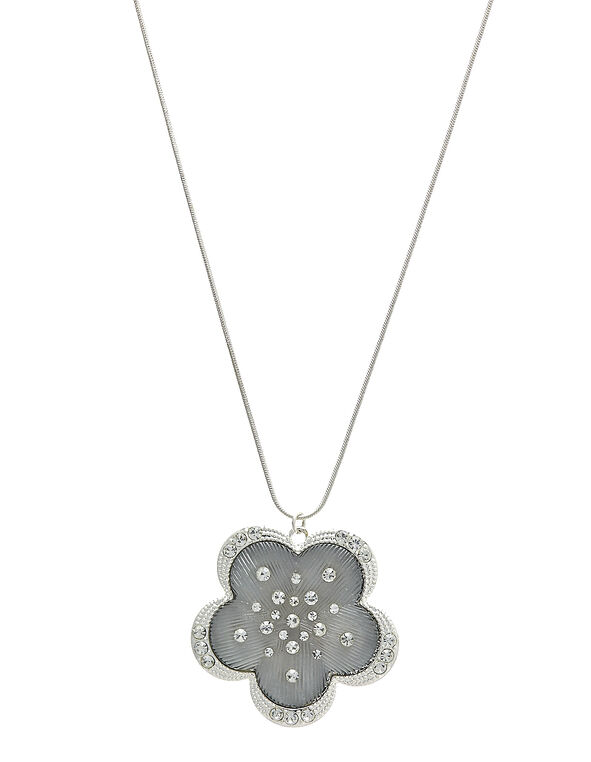 Floral Pendant Necklace, White/Silver, hi-res