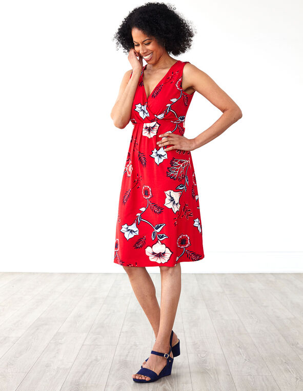 Red Floral Fit & Flare Dress, Red, hi-res