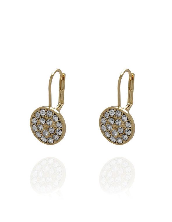 Gold Genuine Crystal Earring, Gold, hi-res