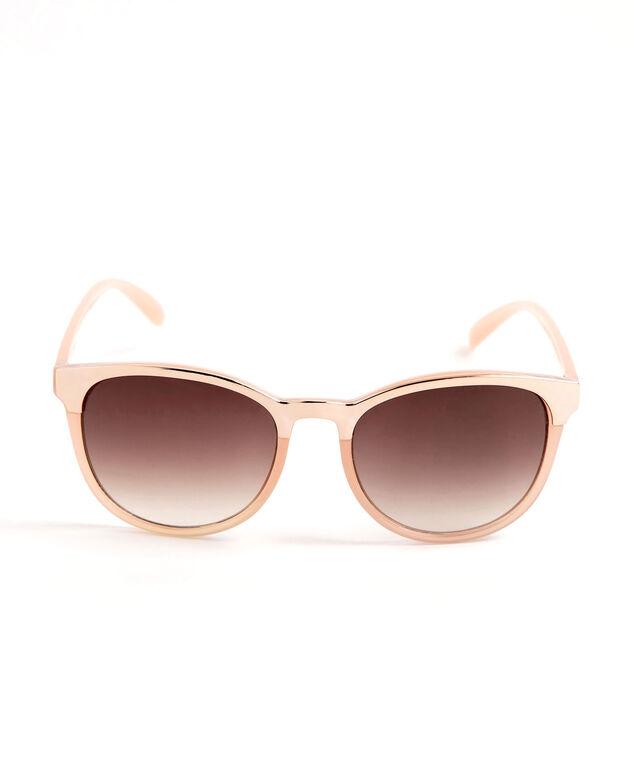 Rose Gold Trim Wayfarer Sunglasses, Blush Pink/Rose Gold