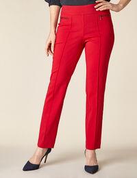 Poppy Solid Zip Pull On Slim Pant