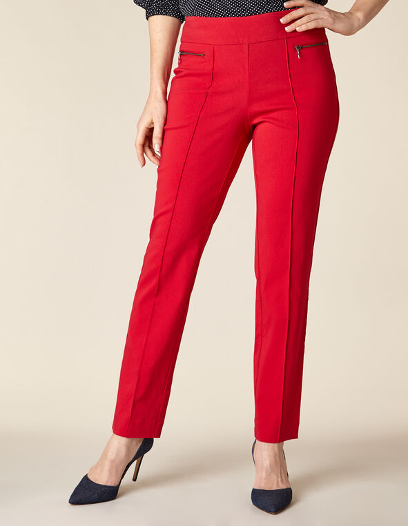 Poppy Solid Zip Pull On Slim Pant, Red/Poppy, hi-res
