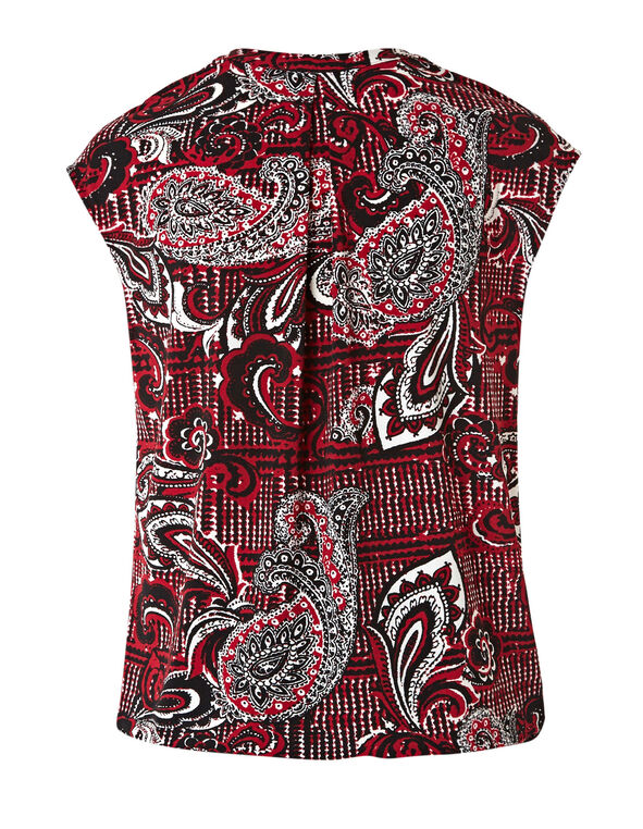 Red Print Bubble Hem Top, Red, hi-res