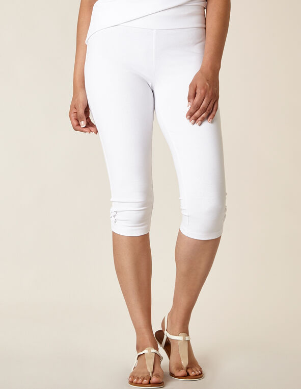 White Lace Up Skimmer Legging, White, hi-res
