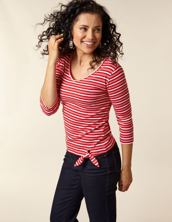 Poppy Striped Cotton Tee, Red/Poppy, hi-res