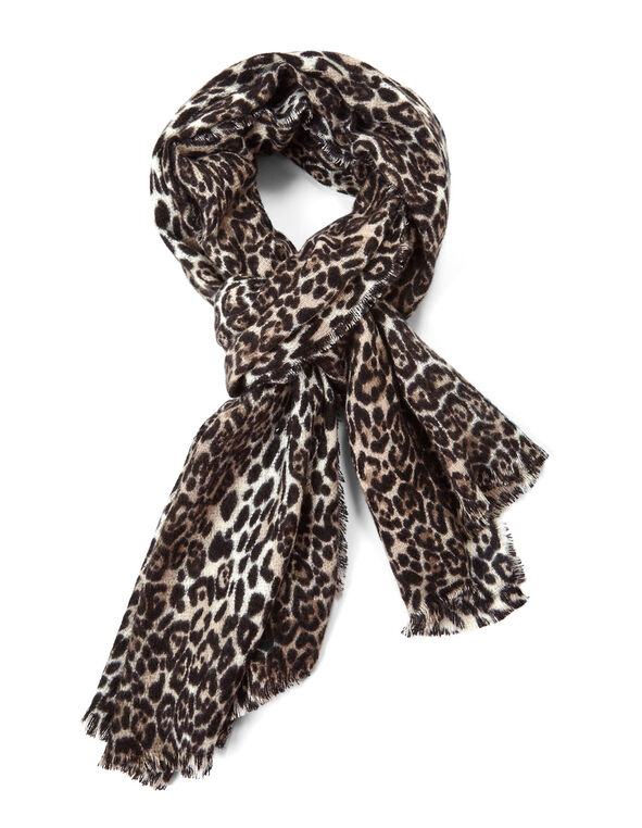 Animal Printed Oblong Blanket Scarf, Black, hi-res