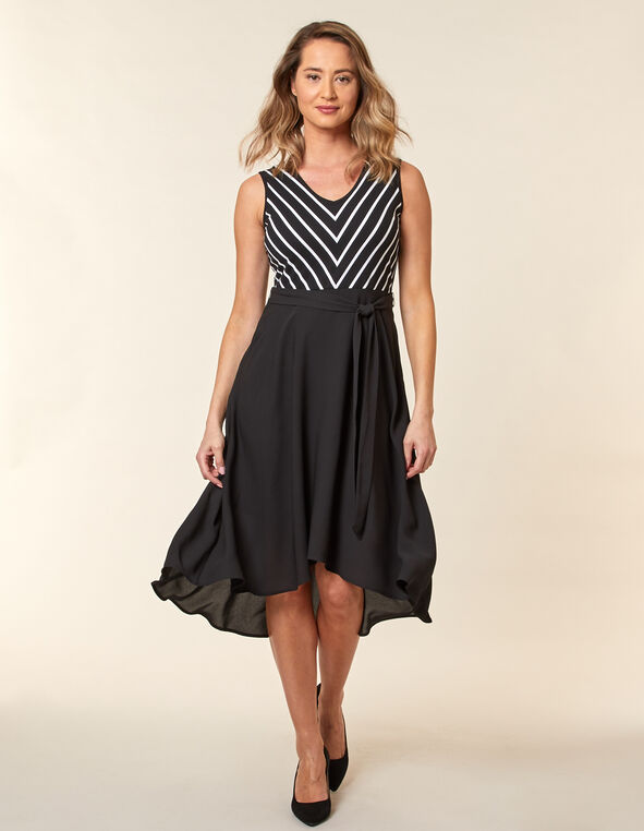Black Printed Chiffon Dress, Black, hi-res