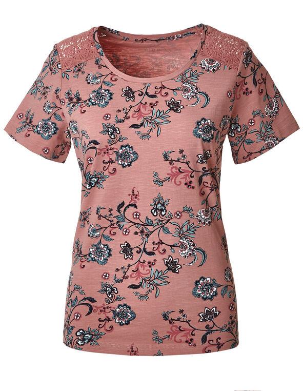 Misty Rose Floral Cotton Tee, Dark Misty Rose, hi-res