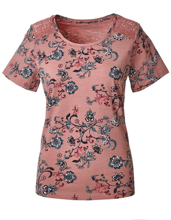Misty Rose Floral Cotton Tee, Dark Misty Rose, hi-res