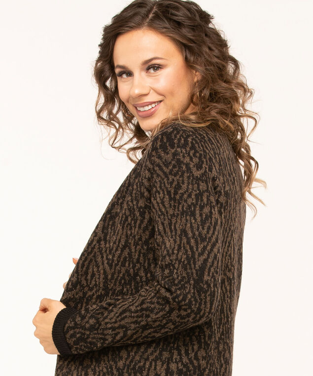 Open Front Long Cardigan, Black/Brown, hi-res