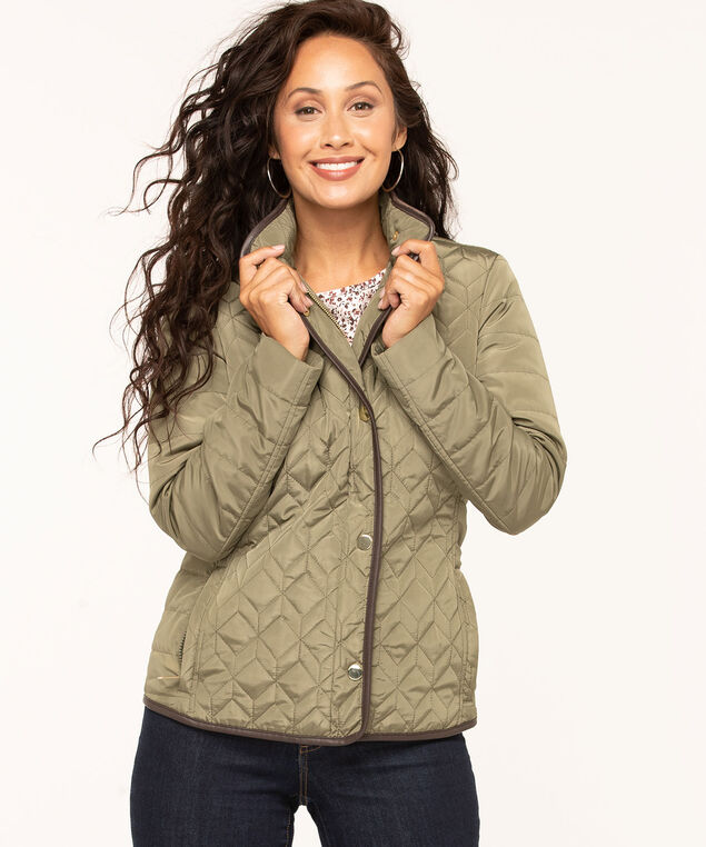 Olive Quilted Coat, Olive, hi-res