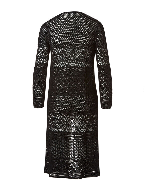 Black Long Crochet Cardigan, Black, hi-res