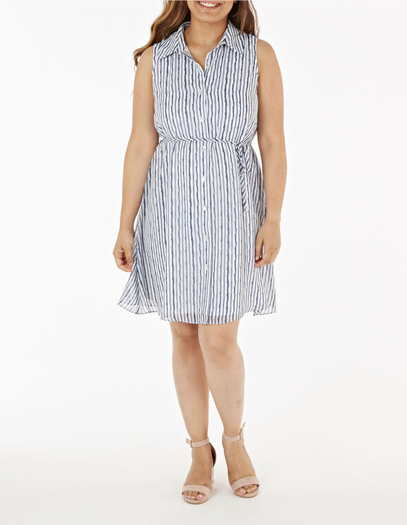 Stripe Collared Button Down Dress, Navy, hi-res